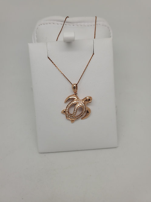 14k rose gold diamond turtle Pendant
