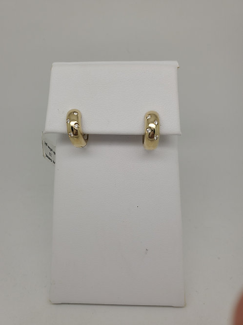 14k gold huggie earrings with diamonds