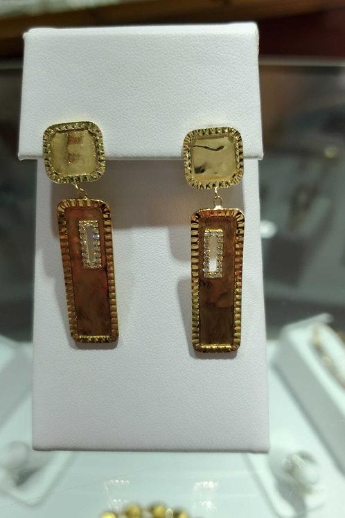 14 carat yellow gold ladies diamond earring