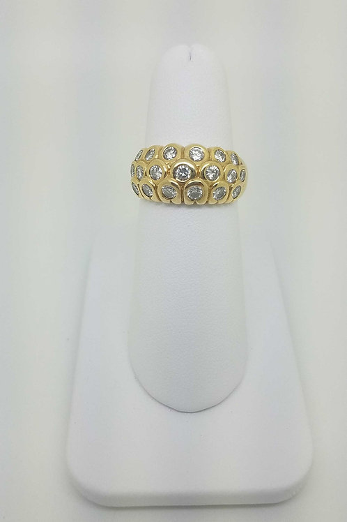 14k yellow gold handmade ladies bezel set  diamond ring