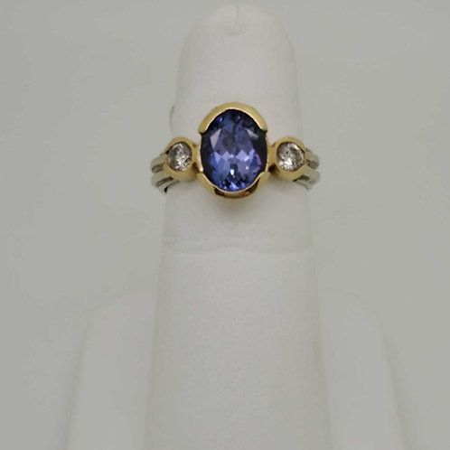 14k white and yellow gold custom made Tanzanite and diamond ring