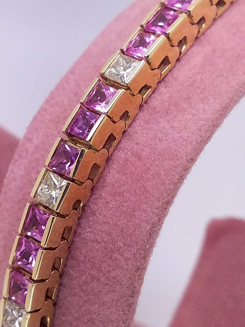 14k yellow gold pink sapphire & diamond bracelet