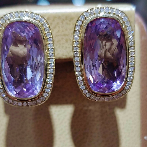 14k YELLOW GOLD KUNZITE & DIAMOND EARRINGS