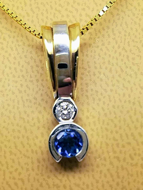14k TWO TONE TANZANITE & DIAMOND PENDANT