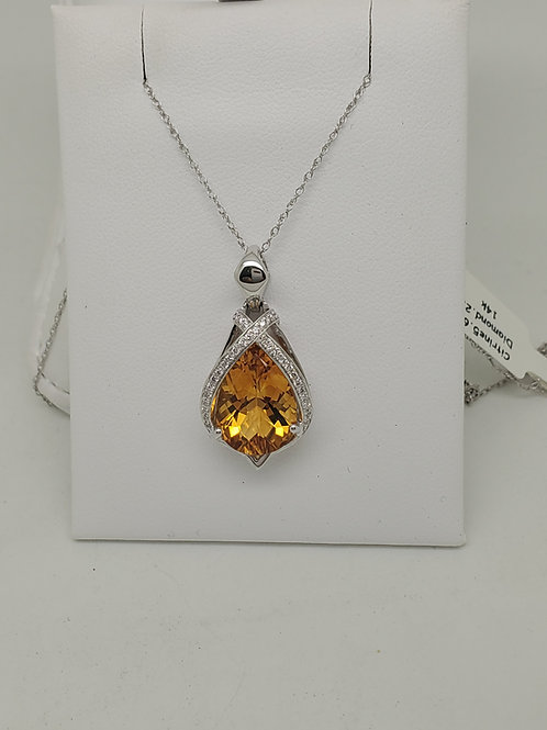 14k white gold citrine and diamond necklace