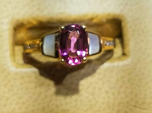 14k pink tourmaline diamond & mother of pearl