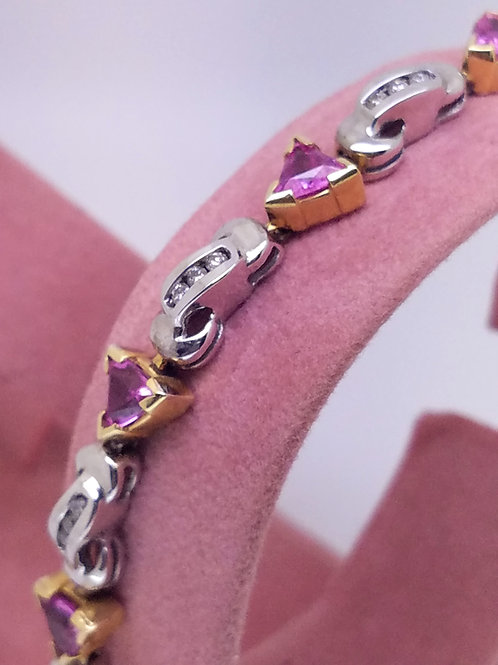 14k white & yellow gold pink sapphire & diamond bracelet