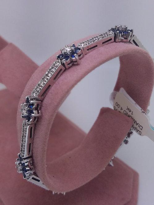 14k white gold blue sapphire & diamond bracelet