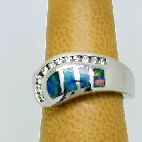 14k WHITE GOLD NATURAL BOULDER OPAL &DIAMOND RING