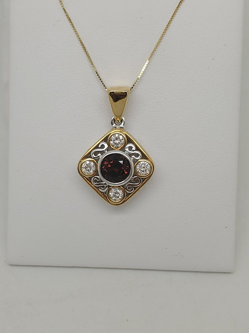 14k white and yellow gold garnet and diamond necklace