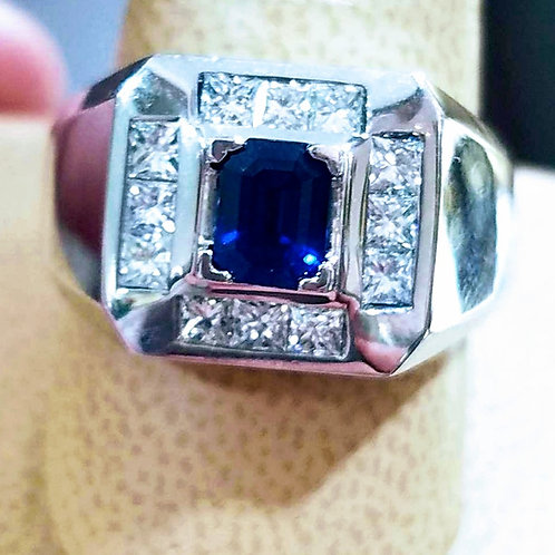14k WHITE GOLD MENS SAPPHIRE & DIAMOND RING