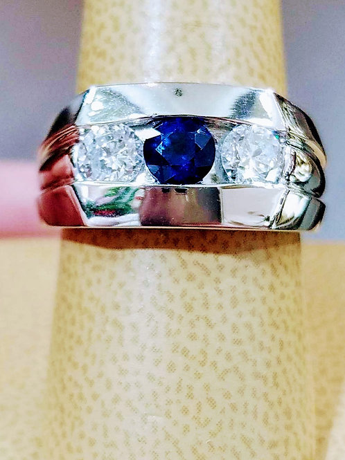 14k WHITE GOLD MENS NATURAL SAPPHIRE& DIAMOND RING