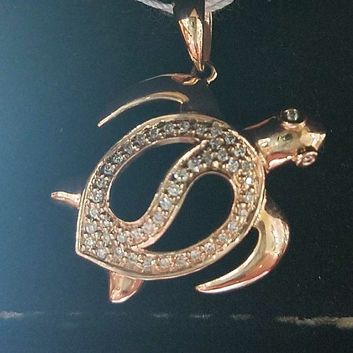 14k Rose Gold diamond sea turtle