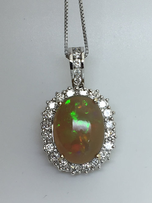 Etheopian Opal & Diamond Pendant 18k white gold
