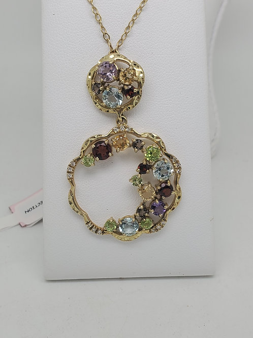 14k yellow gold multi color gemstone necklace