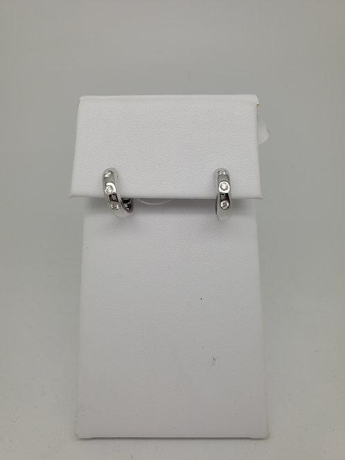 14k hold huggie earrings with diamonds