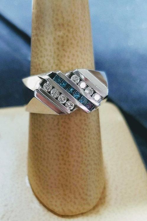 14K WHITE GOLD MENS BLUE & WHITE DIAMOND RING