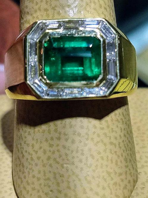 18k MENS EMERALD & DIAMOND RING