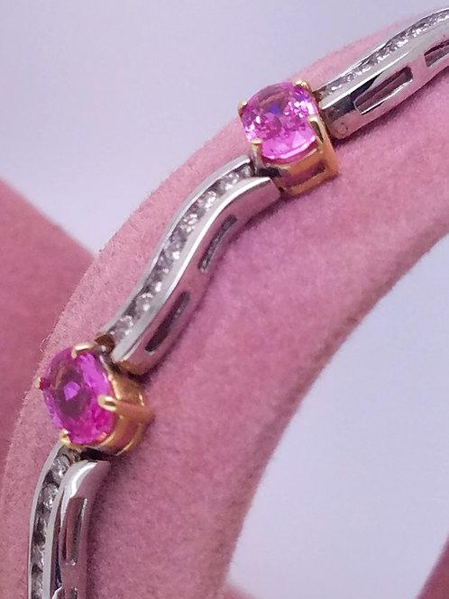 14k yellow & white gold pink sapphire and diamond bracelet