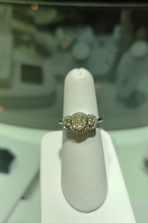 14 carat white gold yellow and diamond ring