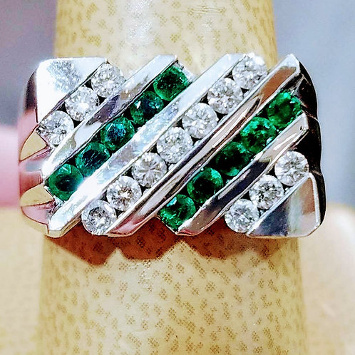 14K MENS WHITE GOLD EMERALD & DIAMOND RING