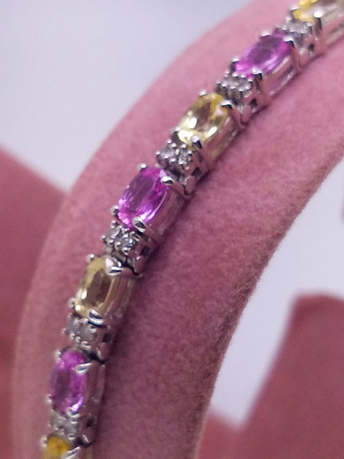 14k white gold pink & yellow sapphire bracelet