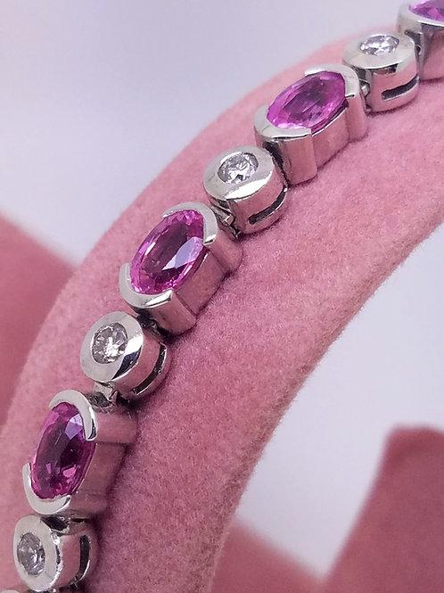 14k white gold pink sapphire & diamond bracelet