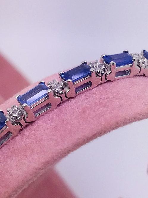 14k white gold sapphire & diamond bracelet