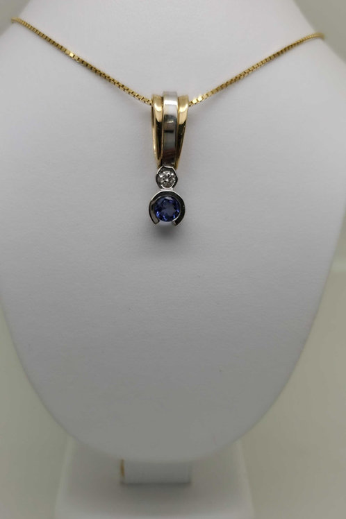 14k white and yellow gold Tanzanite and diamond Pendant