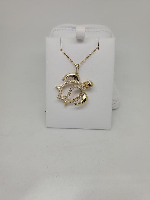 14k yellow gold turtle Pendant with diamonds