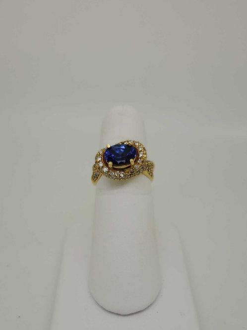 18k yellow gold custom design Tanzanite & Diamond Ring