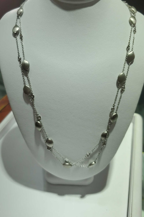 18k white gold and diamond necklace 36""