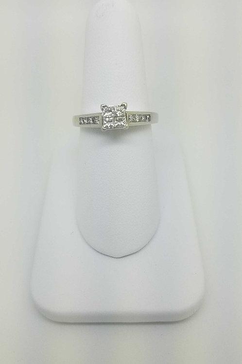 14k white gold ladies ring