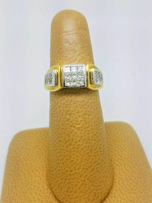 18k YELLOW & WHITE GOLD DIAMOND BAND