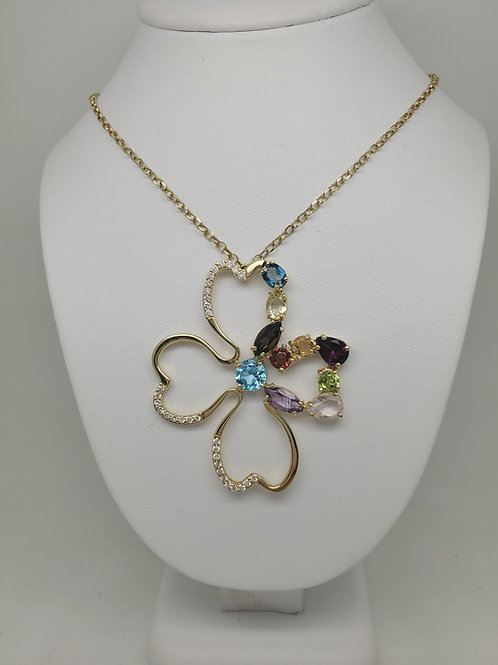 14k yellow gold multi color gemstone necklace with diamonds