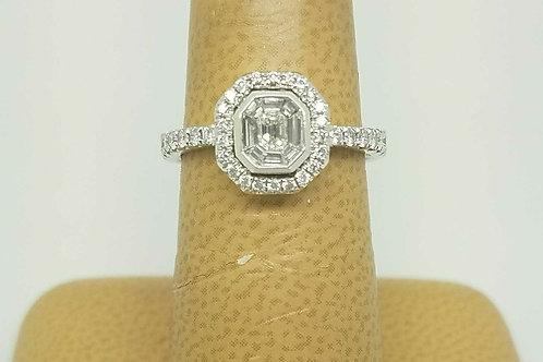 18k white gold vintage diamond mosaic ring