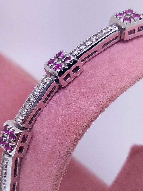 14k white gold ruby & diamond bracelet