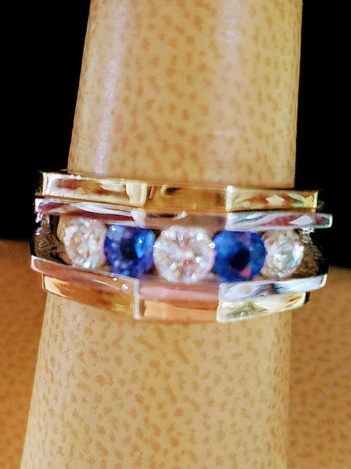 14K MENS TWO TONE NATURAL SAPPHIRE & DIAMOND RING
