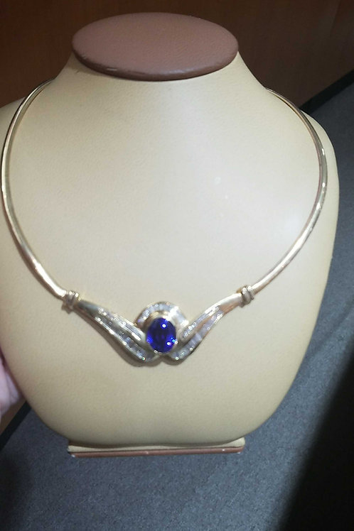 LADIES TANZANITE & DIAMOND NECKLACE