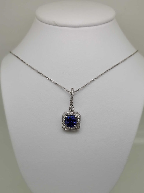 14k white gold Tanzanite & Diamond Pendant