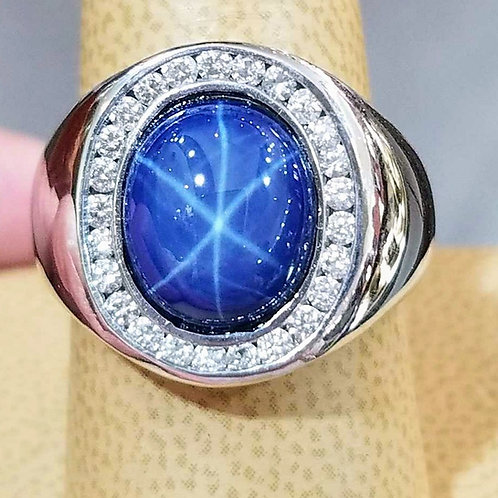 14K MENS WHITE GOLD STAR SAPPHIRE & DIAMOND RING