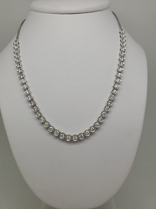 14k white gold adjustable diamond necklace