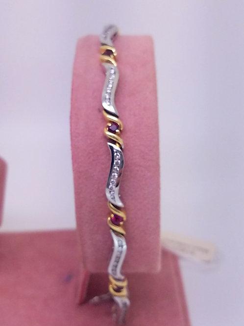 14k white & yellow gold ruby & diamond bracelet