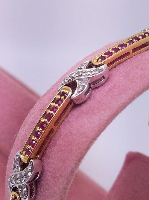 14k white & yellow gold ruby and diamond bracelet