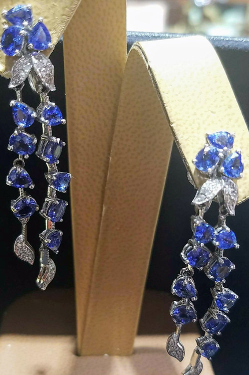 18k SAPPHIRE & DIAMOND EARRINGS *CLIP ON*