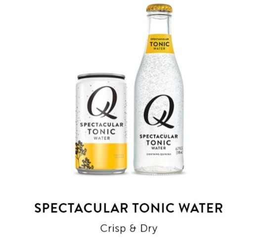 A photo of Qmixers Spectacular Tonic Water in both a can and in a bottle.