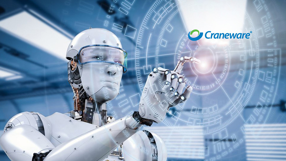 A robot that looks like a human, touching the centre of a digital wheel projection, with the word 'Craneware' at the top right of the image.