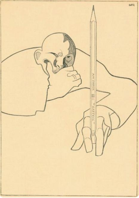 Olaf Gulbransson selvportrett med blyant