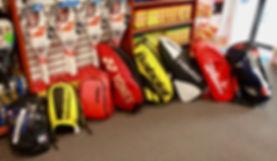 Tennis racquets, tennis bags, tennis balls