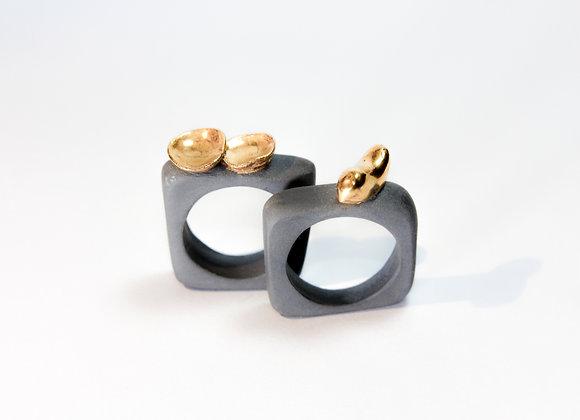 Anelli in Porcellana e Foglia Oro
